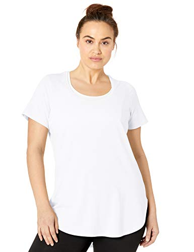 (Core 10 Women's Plus Size Pima Cotton-Blend Short Sleeve Yoga Tunic, White Plus, 1X)