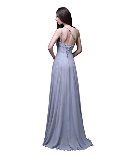 Kmformals Damen eine Schulter lange prom Kleider Silber 1hwdQbdd ...