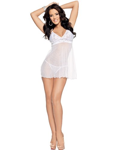 Escante Women's Plus-Size Queen Size Lace and Sheer Baby Doll, White, 2X
