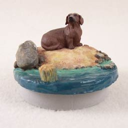 Conversation Concepts Miniature Dachshund Red Candle Topper Tiny One ''A Day on the Beach''