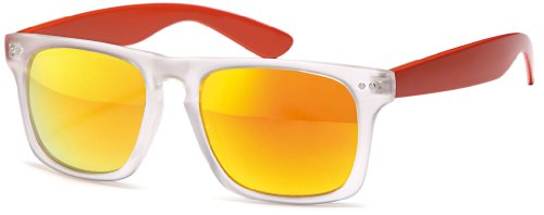 Wayfarer Reflète Blancs Des Chic Millésime Uv net Transparents 400 Nerd Soleil Orange Points Lunettes De Sq7gw7zx