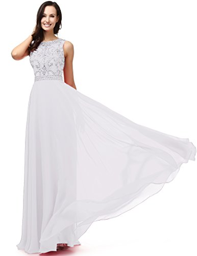 SOLOVEDRESS Women's A Line Evening Dress Long Chiffon Wedding Party Dress Prom Gown Beaded (US 6,White)