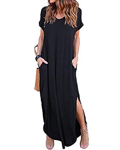 VONDA Summer Dresses for Women V Neck Beach Dress Bohemian Side Slit Maxi Dress with Pockets