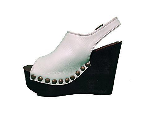 Sandalo Jeffrey Campbell Snike Leather- White Black - Size:38