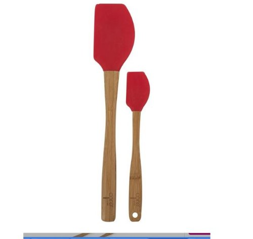 Core Kitchen Bamboo + Silicone Pointed Spatula Set, Red, 12.25