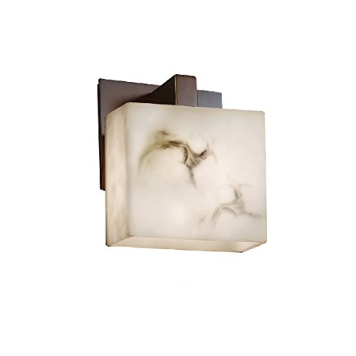 Justice Design Group Lighting FAL-8931-55-DBRZ-LED1-700 LumenAria - Modular 1-Light Wall Sconce - Rectangle Shade - Faux Alabaster - LED Dark Bronze