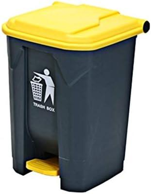 HeWHui 庭のゴミ箱は、家庭用屋外のゴミ箱は蓋大容量ストリートゴミ箱で足型ゴミ箱を厚くことができことができ 古紙バスケット (Color : Yellow, Size : 68L)