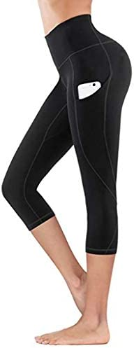 TLOOWY High Waist Yoga PantsPockets Tummy Control Yoga Capris for Women 4 Way Stretch Capri LeggingsPockets / TLOOWY High Waist Yoga PantsPockets Tummy Control Yoga Capris for Women 4 Way Stretch Capri LeggingsPockets