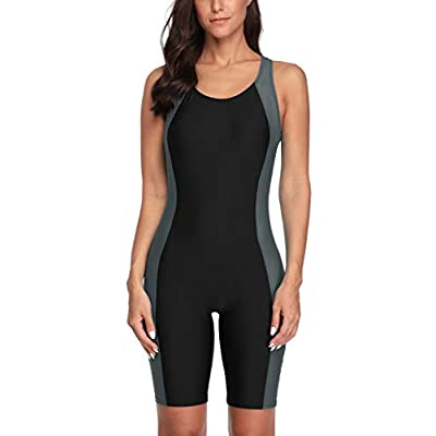 CharmLeaks Women Boyleg Swimsuit One Piece Racerback Athletic Bathing Suit: Clothing