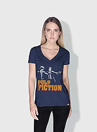 Creo Pulp Fiction Movie Posters T-Shirts For Women - L, Blue