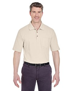 - UltraClub Men's Classic Pique Polo Short Sleeve Shirt with Pocket, Large - Stone
