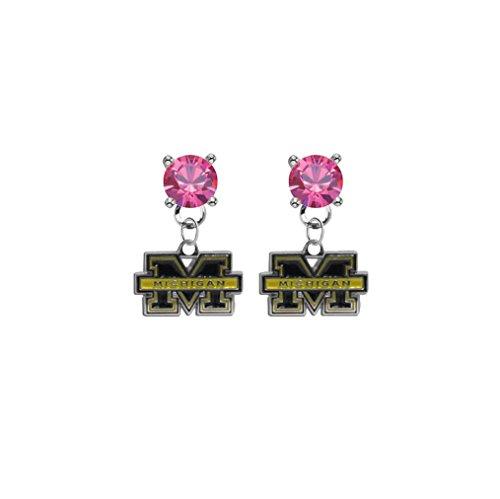 Michigan Wolverines Pink Crystal Stud Post Dangle Earrings