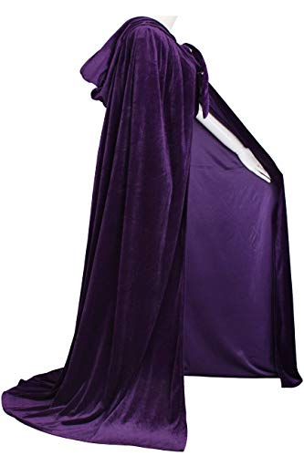 LuckyMjmy Unlined Velvet Medieval Renaissance Hooded Cloak Cape (Medium, Purple) -