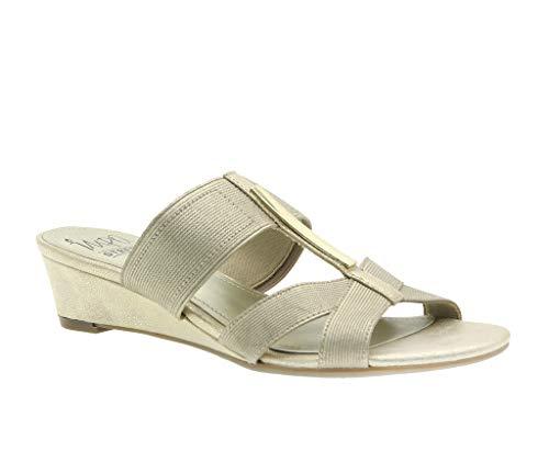- RISA Stretch Wedge Sandal, Platino Pearlized Elastic, 9.5 B(M) US