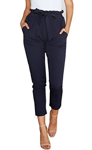 Office Jogger - Mafulus Womens Casual Work Pants High Waist Drawstring Capris Trousers with Pockets