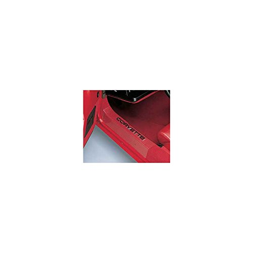 Eckler's Premier Quality Products 25121981 Corvette Sill Protectors Clear With Black Letters Sill Ease