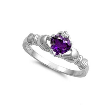 ALL NATURAL GENUINE - 9MM 2ctw Sterling Silver FEBRUARY PURPLE AMETHYST HEART BIRTHSTONE Royal Claddagh Celtic Irish Ring-SIZE 2-13 (.925 Italian Sterling Silver, 7.5)