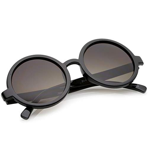 d4d20d39b Classic Retro Horn Rimmed Neutral-Colored Lens Round Sunglasses 52mm  (Black/Smoke)