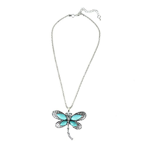 Retro Design Turquoise Dragonfly Pendant Necklace Tibetan Silver Tone Jewelry Gift for Women, 18