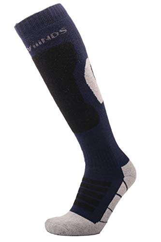 Thermal Ski Socks, Knee High Performance Outdoor Merino Wool Snowboard Socks for Men & Women (US 6.5-US 8.5, Black/Blue) (Sensation Merino Wool Socks)