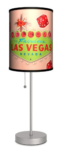 Travel - Las Vegas Vintage Pink Sport Silver Lamp by Lamp-In-A-Box