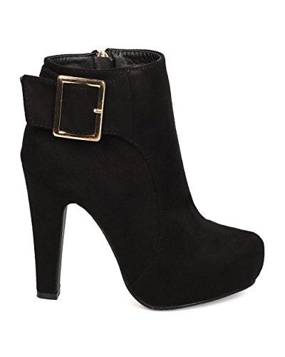 DbDk FD38 Women Faux Suede Almond Toe Buckle Platform Heel Bootie - Black ax4Hmxk