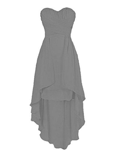 Sweetheart Bridesmaid Low Eevening Prom Cdress Wedding High Gown grey Steel Dresses Chiffon RaqwX1d