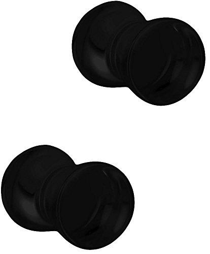 (Set of 4G Black Acrylic Ear Gauges, 4 Gauge 5mm Solid Double Flared Saddle Plug Earrings)