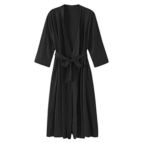 1 Yd Medium Weight - Womens Blouses,Women's 4/3 Sleeve V-Neck Lightweight with Belt Long Robe Bathrobe Sleepwear(M, Black)