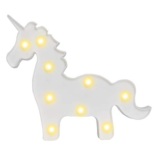 (Pooqla White Unicorn Shaped Animal Light Table Lamp 3D Marquee Unicorn Sign Marquee Letter Nightlight Home Decoration Battery Operated)