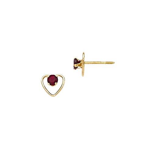 14k Yellow Gold Kids Madi K 3mm Garnet Birthstone Heart (Nina Garnet Earrings)