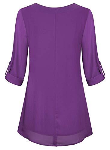 Boutons Femme avec Tunique Soie de Pliss T Mousseline Chic Classique Shirt Col Top YOGLY Chemisier Chic Blouse Violet v en 5pvPq