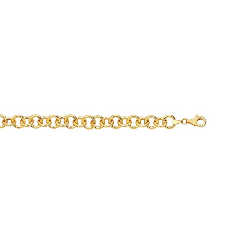 14kt 7.25'' Yellow Gold Diamond Cut Double Link Charm Bracelet with Lobster Clasp by BH 5 STAR Jewelry
