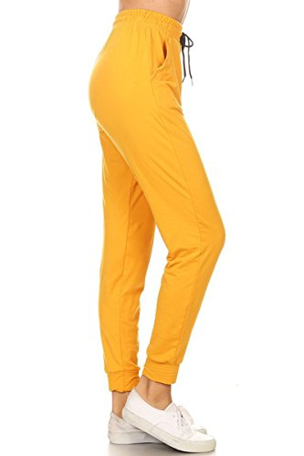 Leggings Depot Women's Printed and 3-Stripes Activewear Jogger Track Cuff Sweatpants Inner Pockets (Mustard, (Yellow Jogger)