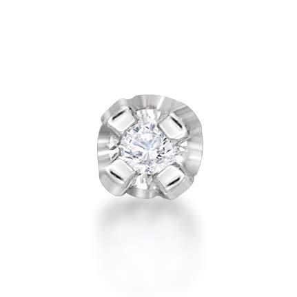 (Lavari - 14K White Gold 1.3mm .01 Carat Genuine Diamond Nose Ring Straight Stud 22 Gauge)