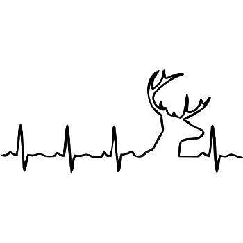 "8""x4"" White Deer Buck Heartbeat Vinyl Car Decal"