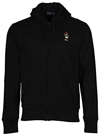 Polo Ralph Lauren Classic Full-Zip Fleece Hooded Sweatshirt with Bear Logo, BLACK (XS)