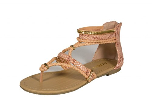 Soda Women's Mimosa Thong Braided Strappy Metal Décor Flat Sandal, coral python, 6 M US (Sandals Python Thong)