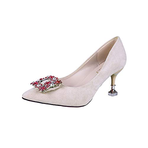 Yukun zapatos de tacón alto Rhinestone High Heels Fashion Wild Square Boca Fashion Ladies Acentuado Stiletto Shallow Mouth High Heels Creamy White