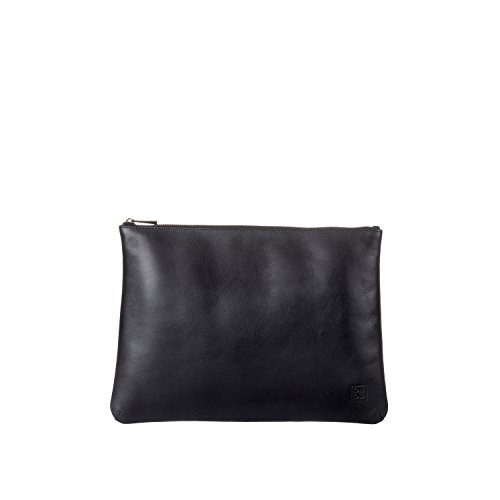 DUDU Clutch Bag Purse with Handle for ladies and men in Real Leather Slim & Large Handbag with Zipper closure - Isa - Black by DuDu