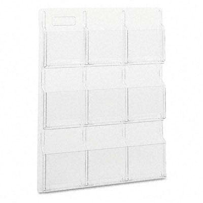 Safco - Reveal Clear Literature Displays Nine Compartments 30W X 2D X 36-3/4H Clear ''Product Category: Office Furniture/Display Racks & Cases''