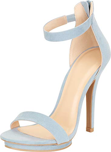 Cambridge Select Women's Open Toe Single Band Stretch Elastic Ankle Strap Stiletto High Heel Sandal,6.5 B(M) US,Blue Grey IMSU