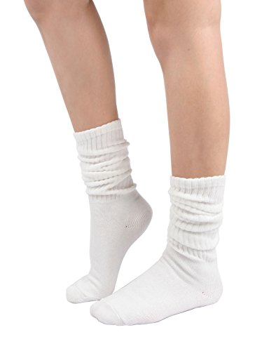 Women's Fall Winter Slouch Knit Socks (Basic Cotton Knit_Rib_White)