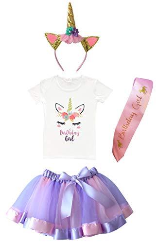 Girls Layered Tutu Skirt with Unicorn Tshirt & Headband (Purple, 7-8 -