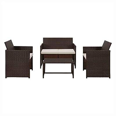 HEATAPPLY Outdoor Furniture Set, 4 Piece Garden Lounge with Cushions Set Poly Rattan Brown