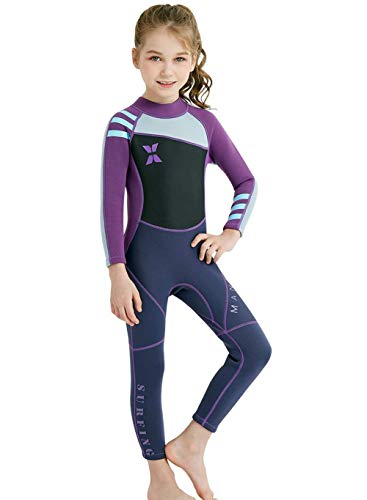 (Neoprene Kids Wetsuit for Boys Girls 2.5MM One Piece Full Body Long Sleeve Swimsuit, UV Protection Keep Warm for Scuba Diving Snorkeling Swimming Fishing Surfing (Girls Purple, L (Height 45