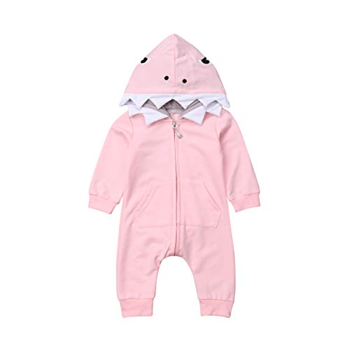 Newborn Infant Kids Boys Girls Cute Cartoon Shark Long Sleeve Zipper Hooded Romper Jumpsuit Top Outfits Clothes (0-6 Months, Pink)