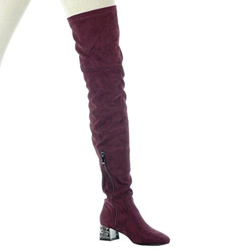 Angkorly - Zapatillas de Moda Botas Altas botas altas flexible mujer joyas Talón Tacón ancho alto 4.5 CM Burdeos