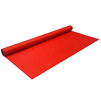 """Party Essentials N5001 Heavy Duty Plastic Banquet Table Roll, 50' Length x 40.5"""" Width, Red (Pack of 6)"""