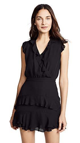 Silk Flutter Sleeve Dress - Parker Women's Tangia Flutter Sleeve Short Dress, Black, 6